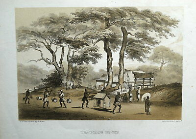 OKINAWA JAPAN,GOVERNMENT BUILDING Perry Expedition Antique Lithograph Print 1855