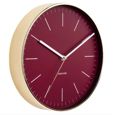 Contemporary Round Wall Clock Burgundy Gold Plated Frame Home Office Decor
