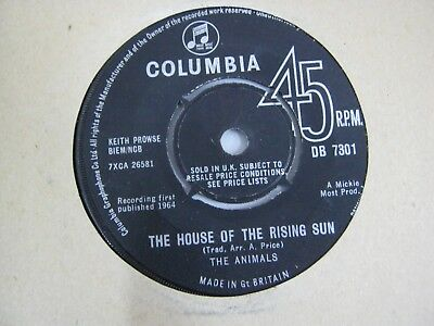 """Vinyl Record 7"""" Single THE ANIMALS THE HOUSE OF THE RISING SUN (A)"""