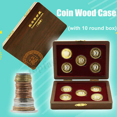 10 Coin Wood Case Display Collection Box Wooden Storage Holder Round Capsule 1