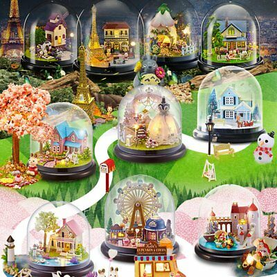 Chrismas Gift DIY Small Music Doll House Miniature Kits Box With Dust Cover Kids
