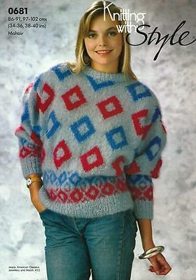 "ST0681 LADIES MOHAIR GEOMETRIC SWEATER KNITTING PATTERN 34-40""/86-102cm"