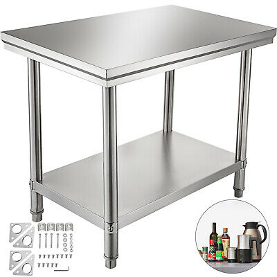 Stainless Steel Work Table Commercial Kitchen Prep Bench Table 24 x 30 Shelf