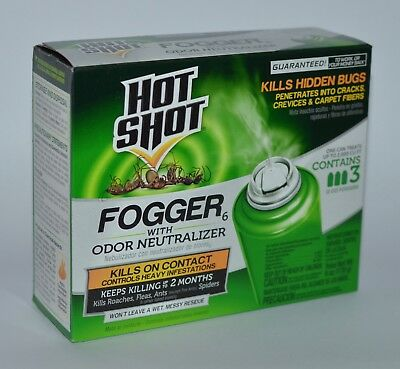 Hot Shot Fogger Odor Neutralizer Kills Ant Bug Flea Roach Mosquito Spider Killer