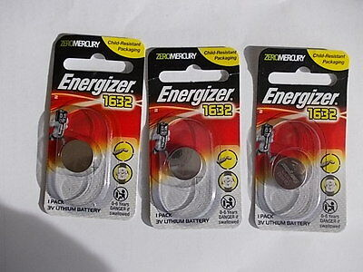 Genuine Energizer CR1632 3Volt Lithium Batteries x 3 batteries brand new