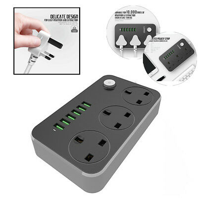 3 Gang Socket 6 USB Port Power Extension Lead Cable Socket w/ Switch UK Plug-in
