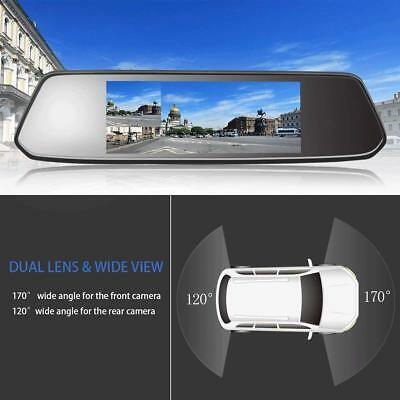 "7"" Inch Full Rear View Mirror Dash HD 1080P Car Reverse Camera Kits Double Cam"