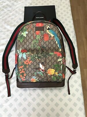 Auth Gucci GG Supreme Tian Brown Leather Backpack Bird Flower Backpack SOLD  OUT a435baceba168