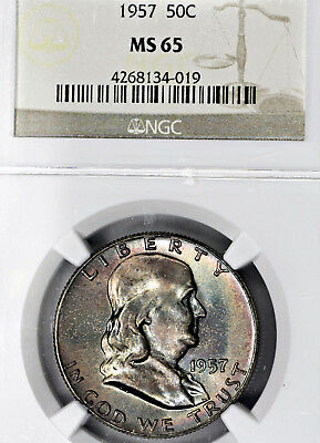 1957-P MS65 Franklin Half Dollar 50c, NGC Graded, Colorfully Toned!