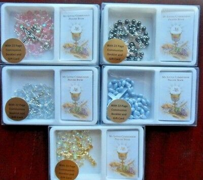 First 1st Holy Communion rosary beads gift sets. Mini prayer book & gift card