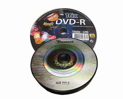 10 x Traxdata Branded Magic Silver DVD-R 16x Blank DVD Discs 4.7GB Ritek F01