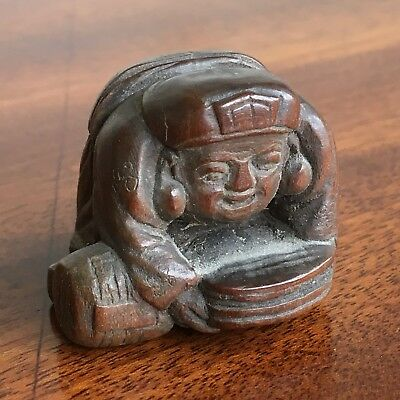 Antique Japanese Carved Wood Netsuke, Signed, Qing, 18/19th Century. 2.5cm High.