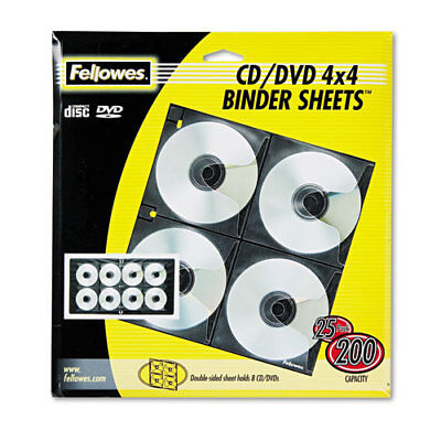 CD/DVD Binder Sheets, 3-Hole Punched, Letter, 25/PK, Clear FEL95321