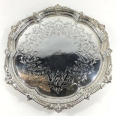 Antique 1862 Martin Hall & Co Solid Silver Chippendale Style Tray Top Salver