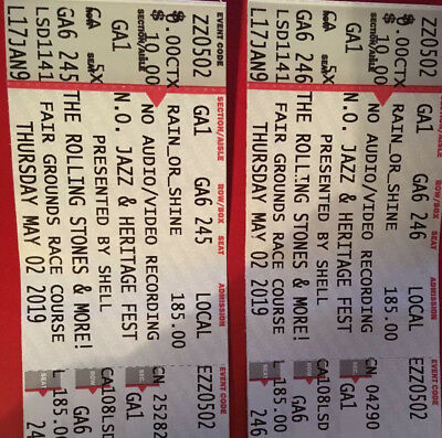 Two tickets for the Rolling Stones May 2nd Jazzfest in New Orleans, La