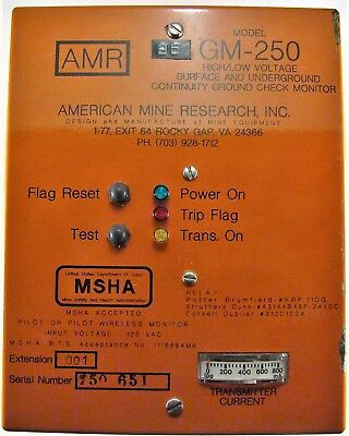 American Mine Research GM-250 High-Voltage Ground Monitor, 120VAC Input, Used