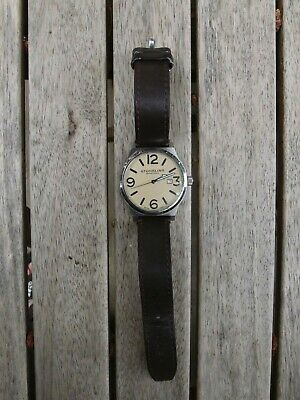Stuhrling Original Men's Watch Brown Leather Strap Silver Case Large Digits