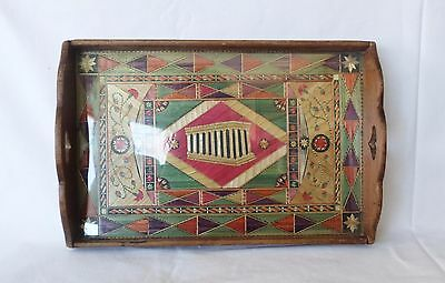 Vintage Greek Mosaic Straw Wood Prisoners Hand Made Serving Tray Parthenon Ruin