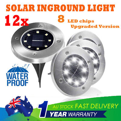 12X Solar Powered Buried Inground Recessed 8Led Light Garden Outdoor Deck Path