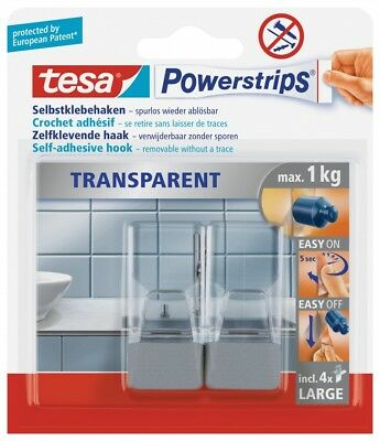 tesa Powerstrips® transparent Haken Large - matt-chrom