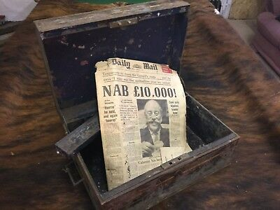 Antique Vintage Metal Writing Desk Stationary Box Has A 1972 Newspaper Lining