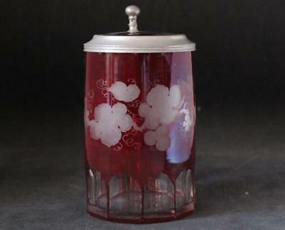 Antique German/Bohemian Glass Beer Stein Ruby Red Cut and Engraved c.1870s