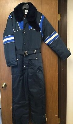 Vintage Walls Blizzard Pruf Blue Insulated Coveralls Mens Small Motorcyling