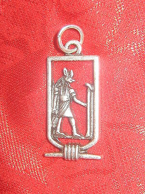 New 25Mm Silver  Egypt Egyptian Anubis God Cartouche Dog Pendant Charm Necklace