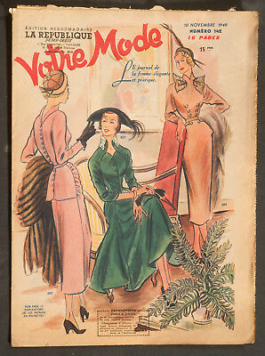 'votre Mode' French Vintage Newspaper 10 November 1949