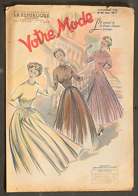 'votre Mode' French Vintage Newspaper 4 November 1948