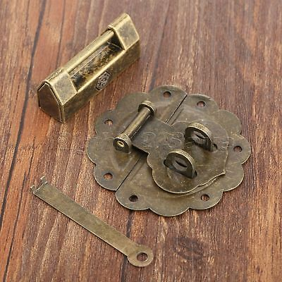 Classic Decorative Padlock & Wooden Chest Case Jewelry Box Latch Hasp Catch Set