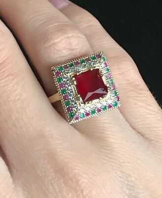 Turkish Handmade Jewelry Sterling Silver 925 Ruby Ladies Ring 8