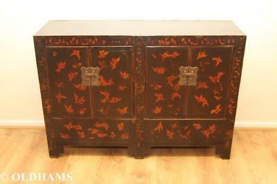 Superb Reproduction Chinese Style Cabinet with Black Lacquer and Red Butterflies