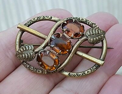 Stunning Vintage Victorian Jewellery Hand Crafted Crystal Gold Pipe Brooch Pin