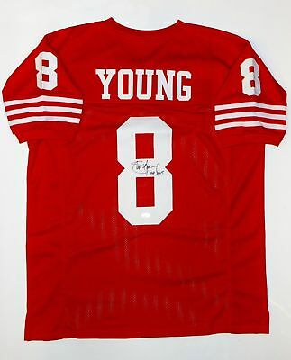 Steve Young Autographed Red Pro Style Jersey With HOF and JSA Witnessed Auth