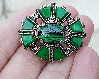 Vintage Signed Miracle Jewellery Scottish Celtic Green Banded Agate Brooch Pin
