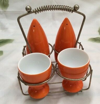Retro Art Deco Salt & Peppers Shakers and Egg Cut Set – Bright Orange Ceramic