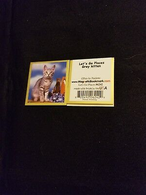 Magnetic Bookmark cat Let's Go Places Grey Kitten