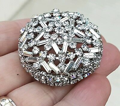 Stunning Vintage Art Deco Jewellery Glass Crystal Cluster Silver Brooch Pin