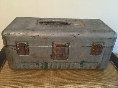 Vintage Metal Fishing Tackle Box with Metal Handle - Barn Fresh! Rusty Gold!