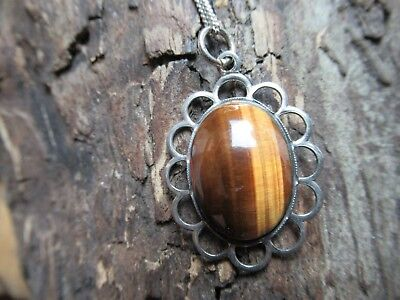 Sterling Silver Tigers Eye Oval Pendant Chain Necklace
