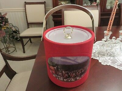 """1992 Anheuser Busch Clydesdales & Wagon 8"""" Ice Bucket & Lid Red Suede EUC"""