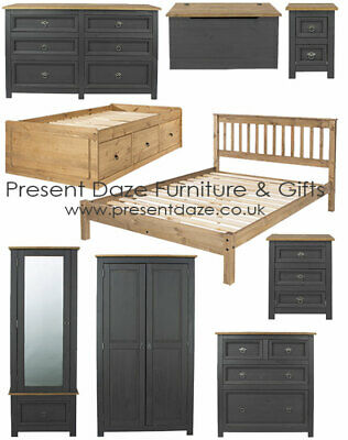 Premium Corona Carbon Grey Solid Pine Bedroom Range with Chunky Solid Pine Tops