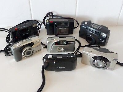 JOB LOT 7 x 35mm COMPACT CAMERAS - PENTAX,CANON,OLYMPUS ETC.