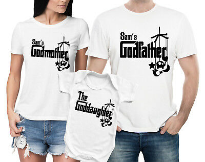 Custom Godfather, Godmother and goddaughter white t-shirts and baby bodysuit set