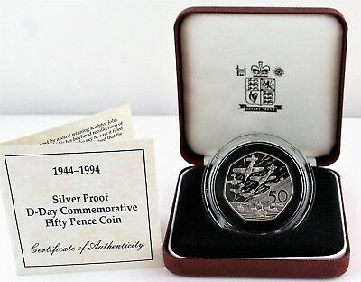 1994 Royal Mint D-Day Landings Silver Proof Fifty Pence 50p coin COA Box, sleeve