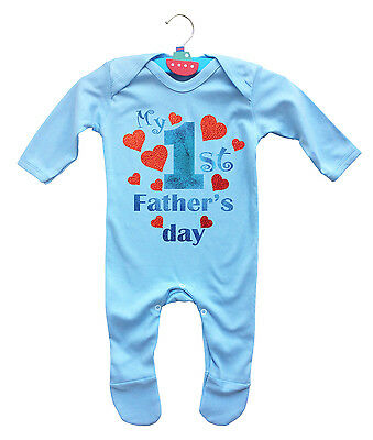 My 1st Father's day light blue baby rompasuit with red hearts.