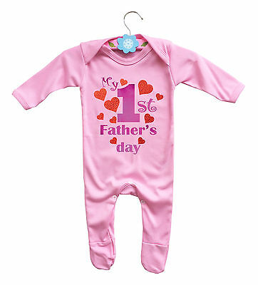 My 1st Father's day long sleeve pink baby rompasuit baby grow with red hearts.
