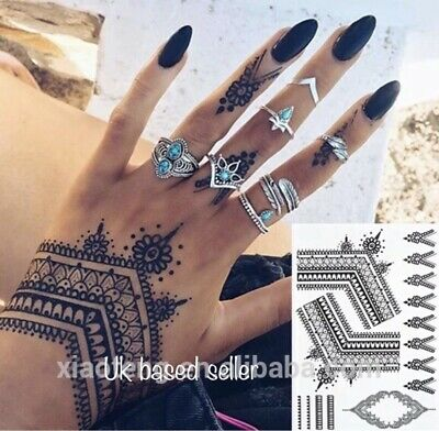 BLACK HENNA TEMPORARY Tattoo Transfer Sticker Kit Mehndi Lace, UK seller