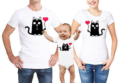 Valentine's day family matching white T-shirts and baby grow set with cats.